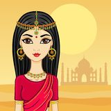 Indian girl. Vector illustration: Indian girl against the hot desert and silhouette palace Stock Photos