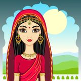 Indian girl. Vector illustration: Indian girl against morning mountains Stock Images