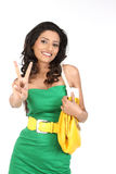 Indian girl in victory action Royalty Free Stock Photography