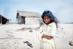 Indian girl in village. Young girl from south-indian village, Tamil Nadu state, India stock photo