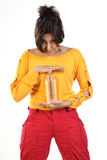 Indian girl with water bottle. Health cautious girl with water bottle Royalty Free Stock Image