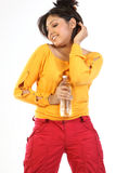 Indian girl with water bottle Royalty Free Stock Image