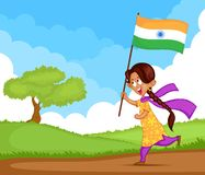 Indian girl waving flag of India Stock Photos
