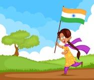Indian girl waving flag of India Stock Photos