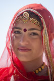 Indian girl wearing traditional Rajasthani dress participate in Desert Festival in Jaisalmer, Rajasthan, India Royalty Free Stock Photos