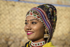 Indian girl wearing traditional Rajasthani dress participate in Desert Festival in Jaisalmer, Rajasthan, India Royalty Free Stock Photography
