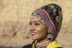 Indian girl wearing traditional Rajasthani dress participate in Desert Festival in Jaisalmer, Rajasthan, India Royalty Free Stock Images