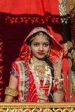 Indian girl wearing traditional Rajasthani dress participate in Desert Festival in Jaisalmer, Rajasthan, India Stock Images