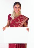 Indian girl with the white placard Stock Images