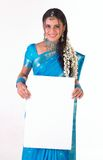 Indian girl with white placard Royalty Free Stock Image