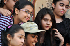 Indian Girls. Taking photos together in Amber Fort, Jaipur Royalty Free Stock Photography