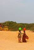 Indian girls. Beach of the Indian ocean, GOA Royalty Free Stock Images