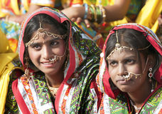 Indian girls in colorful ethnic attire Royalty Free Stock Photo