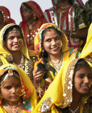 Indian girls in colorful ethnic attire Royalty Free Stock Images