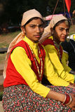 Indian girls in ethnic dresses sitting Royalty Free Stock Images