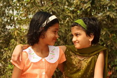Indian girls making friends Royalty Free Stock Image