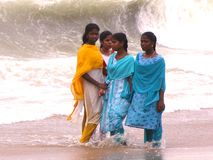 Indian Girls Onshore Ocean Royalty Free Stock Photo