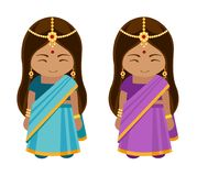 Indian girls in sari. royalty free illustration