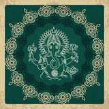 Indian god elephant Ganesha vintage card Royalty Free Stock Photos