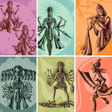 Indian God and Goddess Religious Vintage Poster Royalty Free Stock Photography
