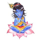 Indian God Krishna. Watercolor illustration. Indian God Krishna. Watercolor hand drawn illustration Royalty Free Stock Photos