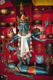 Indian God Parvati and Shiva, blue bodies, sculptures made of wood, antique, Nepal. Indian God Parvati and Shiva, blue bodies, sculptures made of wood, antique Stock Photos