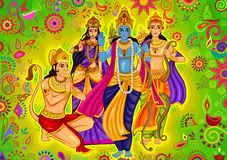 Indian God Rama with Laxman and Sita for Dussehra festival celebration in India. Vector design of Indian God Rama with Laxman and Sita for Dussehra festival stock illustration