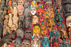 Indian God's Masks sell in street shop, Kathmandu Royalty Free Stock Photo