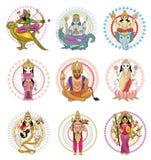 Indian god vector hinduism godhead of goddess and godlike idol Ganesha in India illustration set of asian godly religion. Isolated on white background Stock Images