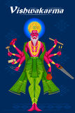 Indian God Vishwakarma with different tools Royalty Free Stock Image