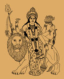 Indian goddess. Hindu goddess Durga with a lion on a beige background stock illustration