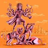 Indian Goddess Durga killing Mahishasura Stock Photo