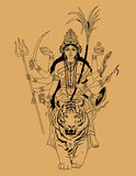 Indian Goddess Durga. Sitting on a tiger on a beige background vector illustration