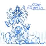 Indian Goddess Durga in sketchy look Stock Image