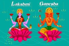 Indian Goddess Lakshmi and Ganesha on Lotus Stock Photo