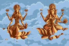 Indian Goddess Lakshmi and Ganesha on Lotus Royalty Free Stock Photography