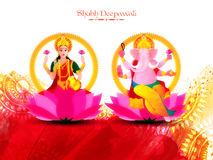 Indian Goddess Lakshmi and Lord Ganesha for Diwali. Vector Indian Goddess Lakshmi and Lord Ganesha, Giving blessing on floral paint stroke background for Stock Image