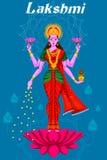 Indian Goddess Lakshmi on Lotus Royalty Free Stock Photography