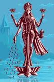 Indian Goddess Lakshmi on Lotus Stock Photography