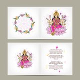 Indian goddess Shakti, postcard design Stock Images