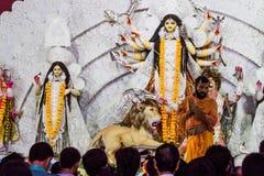 Indian goddess worship, Dussehra festival. Worship of Indian goddess Durga on Dussehra festival in Kolkata, India in Durga mata temple. A national holiday and Stock Images