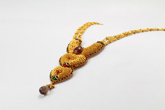 Indian Gold necklace. An example of intricate Indian gold jewelery royalty free stock photography