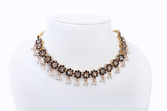 Indian Gold Necklace. With White Beads Stock Images