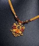 Indian Gold Necklace. Indian Gold  Traditional Necklace with Details Royalty Free Stock Image