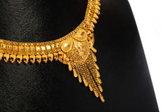 Indian Gold Necklace. With Details Royalty Free Stock Photo