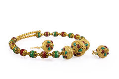 Indian Gold Necklace with Earrings Stock Image