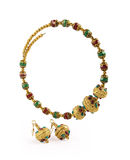 Indian Gold Necklace with Earrings Royalty Free Stock Photography