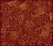 Indian gold pattern on a red background. Vector Stock Photo