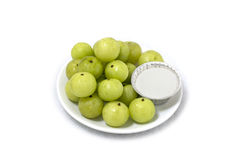 Indian gooseberries. On white background Royalty Free Stock Photo