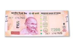 Indian government Rupees. Indian Currency Rupees two hundred value on white back round Stock Photos